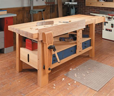 shaker style workbench woodworking project woodsmith plans