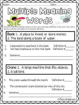 multiple meaning words worksheet by misty anderson tpt