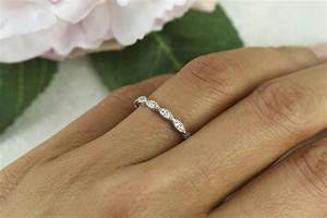 art deco wedding band 15mm engagement ring thin half With wedding ring thin band