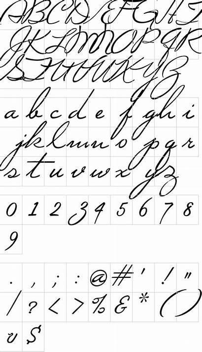 Script Mi Font Sheet Fontm Specimen Character