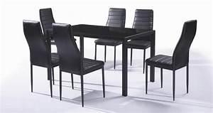 Ensemble Chaise Et Table : ensemble table et 6 chaises contemporain coloris noir ~ Dailycaller-alerts.com Idées de Décoration