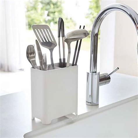 Yamazaki Kitchen Utensil Holder With Adjustable Sink Drain