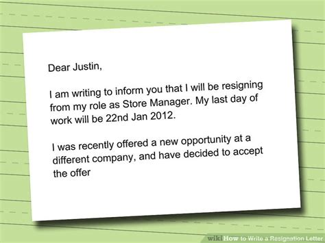 how to write a resignation letter with sle wikihow