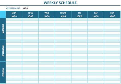 weekly schedule templates  excel smartsheet
