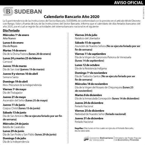 sudeban publico calendario bancario de diario primicia