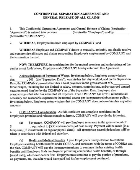 employee separation agreement template 8 sle employment separation agreements sle templates