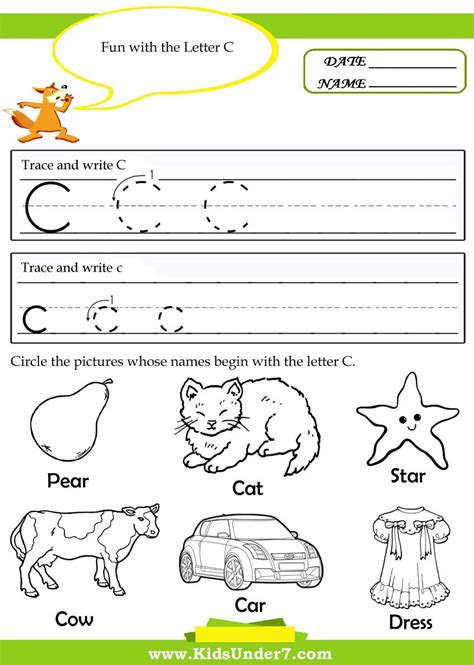 Letter C Worksheets For Preschool  Google Search  Lettersound Activities Pinterest