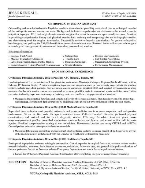 doctors resumes example orthopedic physician assistant resume free sample