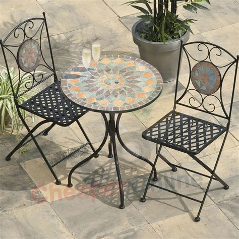 patio table and 2 chairs 2 person 60cm cairo mosaic bistro garden furniture set