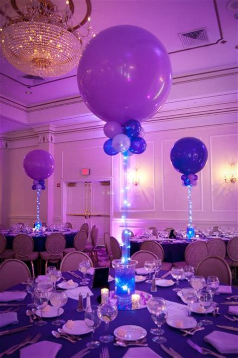 purple balloon centerpiece  aqua gems party balloon