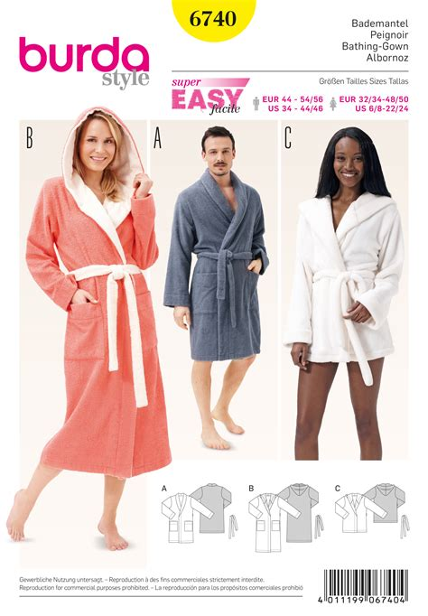 patron robe de chambre burda 6740 bathrobes