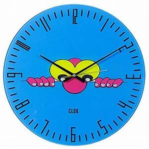 Clok Sneak Peek Blue Glass Wall Clock 30 Cm Dia Best Deals