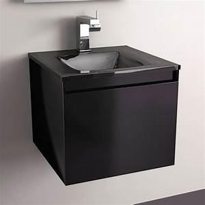 Meuble salle de bain noir 40 cm 1 tiroir plan verre glass for Meuble salle de bain petite largeur