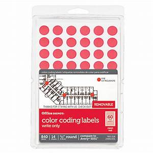 office depot brand removable round color coding labels 12 With does office depot print stickers