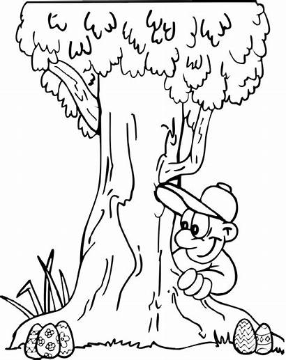 Coloring Easter Egg Hunt Pages Outdoor Tree