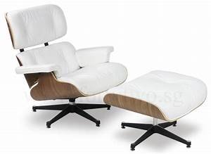 Designer Replica Eames Lounge Chair White Leather