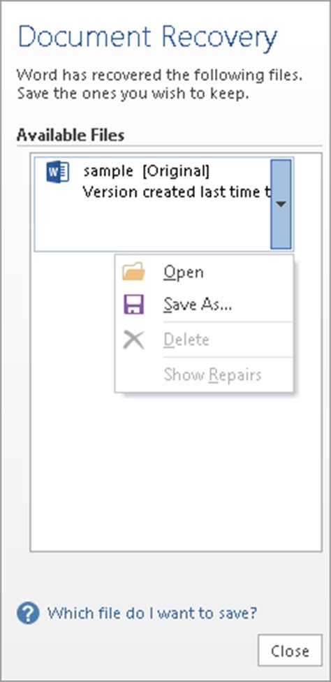 document recovery task pane  word