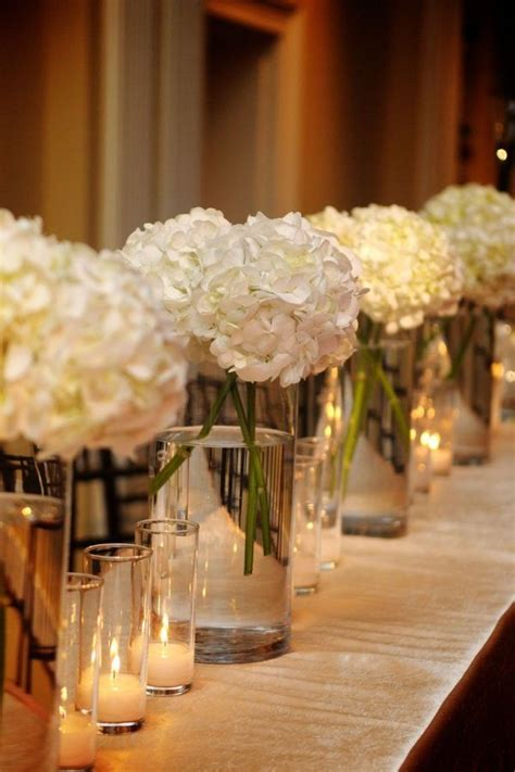 7 inch vases with 3 hydrangea stems simple and chic