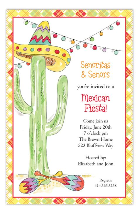 rosanne beck fiesta cactus invitation polka dot design
