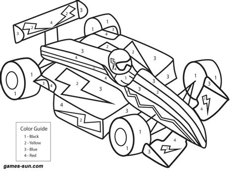 Race Car Coloring By Numbers
