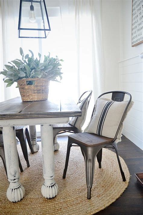 rustic metal  wood dining chairs farmhouse table