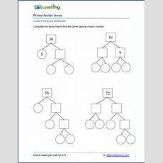 Grade 5 Factoring Worksheet Prime Factor Trees  K5 Learning