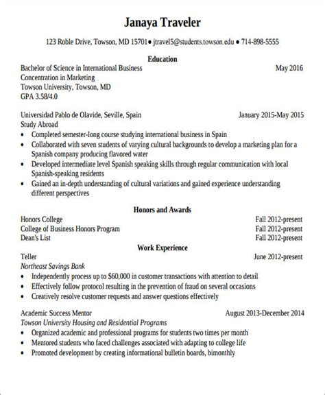 Study Abroad Resume by 52 Resume Format Sles Sle Templates