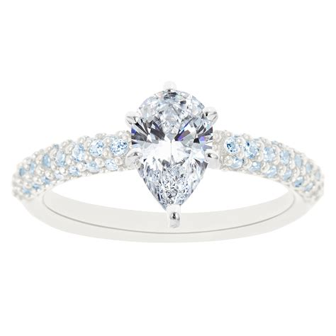 new york city district 14k white gold pear shaped certified engagement ring
