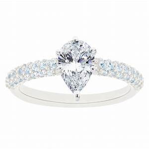 New york city diamond district 14k white gold pear shaped for Wedding rings new york city