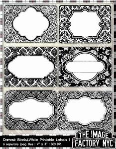 black and white damask printable labels tags for gift tags With black labels for printing