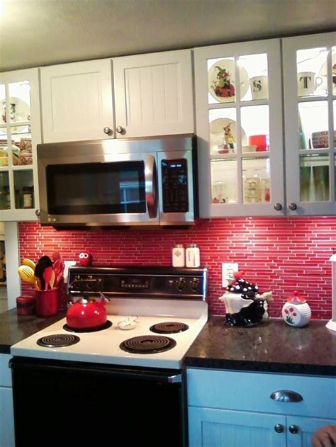 red glass tile backsplash