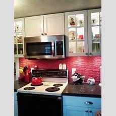 Red Glass Tile Backsplash  Backsplash  Pinterest
