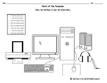 parts of the computer coloring page by to the wire tpt