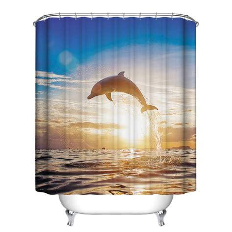 12 hook fish theme bathroom shower curtain