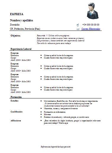 plantilla de curr 237 culo curriculum cv u hoja de vida