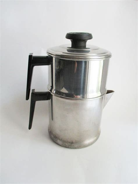 This method of brewing coffee has been around since percolators come in both electric, stove top or camping around the fire. Vintage Lifetime Coffee Pot Stainless Steel Percolator Stove Top Camping 10 Cup Pot | Coffee ...