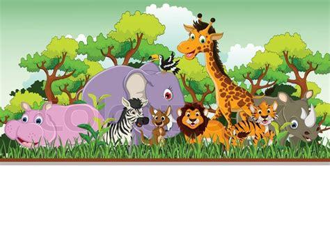 funny animal cartoon  blank sign stock vector
