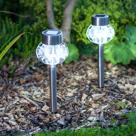 buy set of 2 white led solar garden stake lights from our