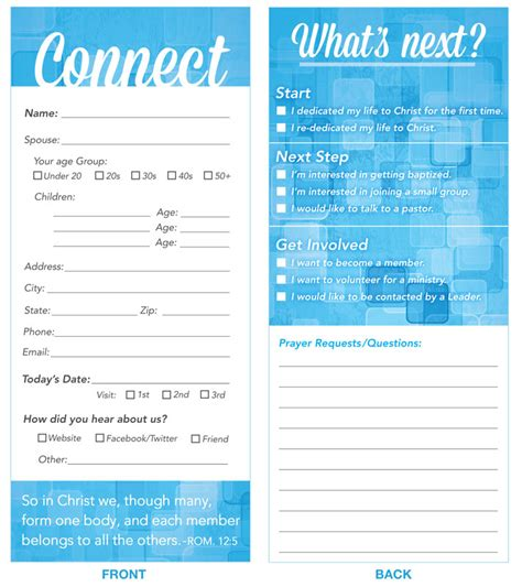 church connection card template connection card blue connection card church other outreach marketing