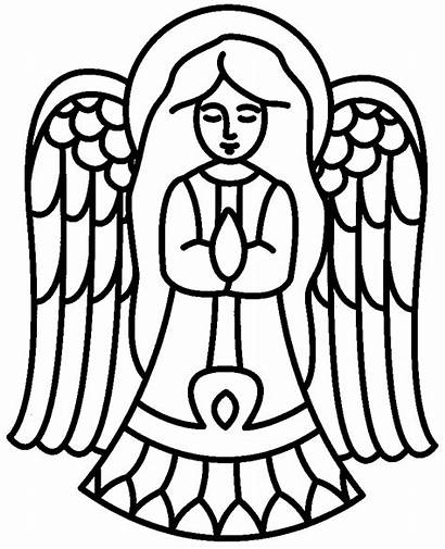 Angel Christmas Simple Coloring Printable Angels Pages