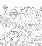 Coloring Country Pages Adult Romantic Colouring Balloon Air Balloons Outhouse Sheets Printable Mandala Malvorlagen Adults Farm Books Flower Ausmalbilder Ballons sketch template