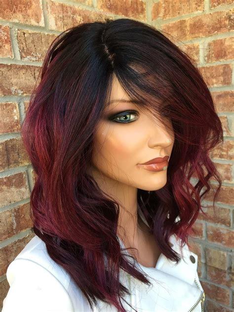 cherry red balayage human hair blend full wig  coloracion de cabello cabello  maquillaje