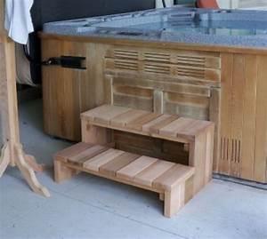 2 Tier Cedar Hot Tub Steps - Log Furniture and More