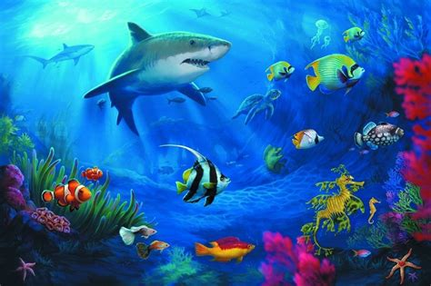 poster underwater world coral sharks