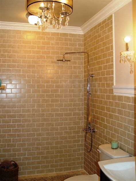 love  tan subway tile    master bathroom