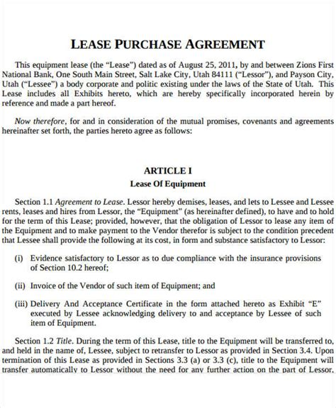 Rent To Buy Agreement Template Equipment Lease To Own
