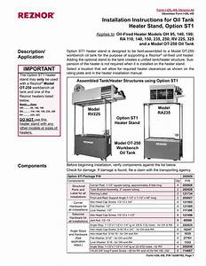 Installation Instructions For Oil Tank Heater Stand
