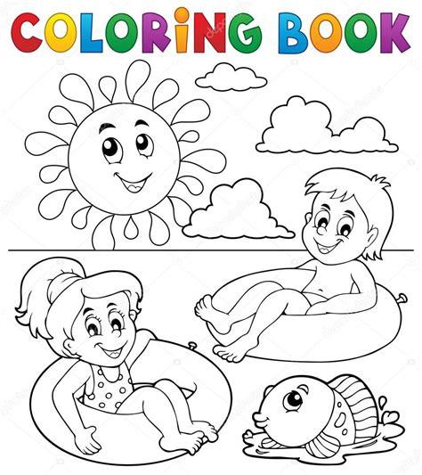 immagini clipart bambini disegni da colorare bambini libro in anelli di nuotata 1