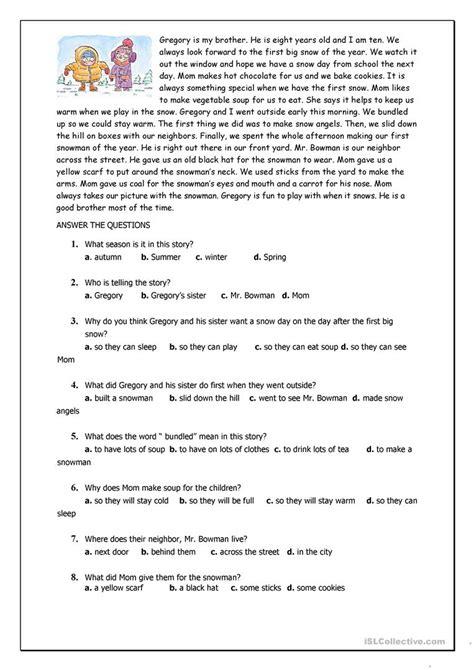 reading comprehension for beginner and elementary students worksheet free esl printable