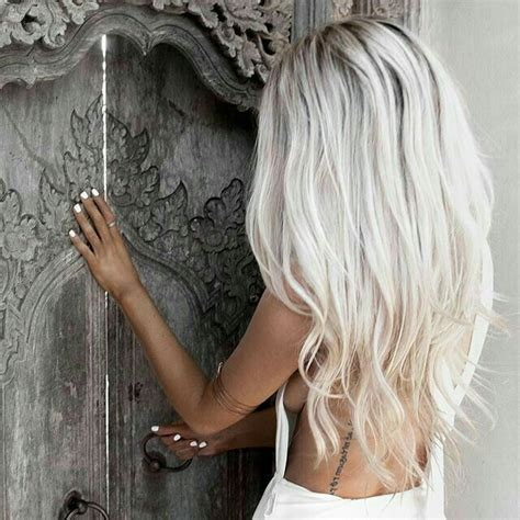 Ice Blonde Dark Roots Hair Color In 2019 Pinterest